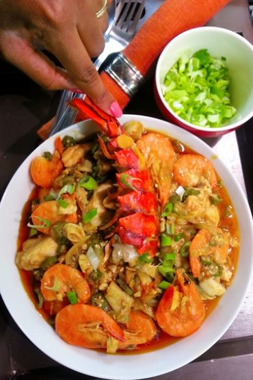 Okra Stew with Prawns and Lobster