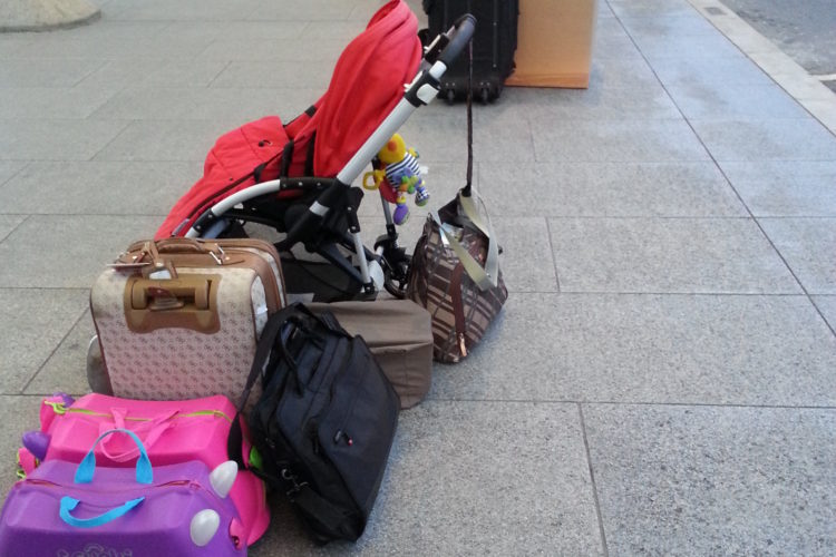 Our bags at the airport