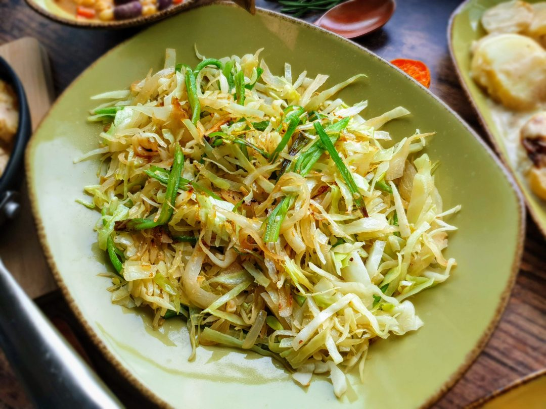 Buttery Sauteed Cabbage with garlic and onions